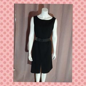 Shift dress with belt - ultra black - midi classic
